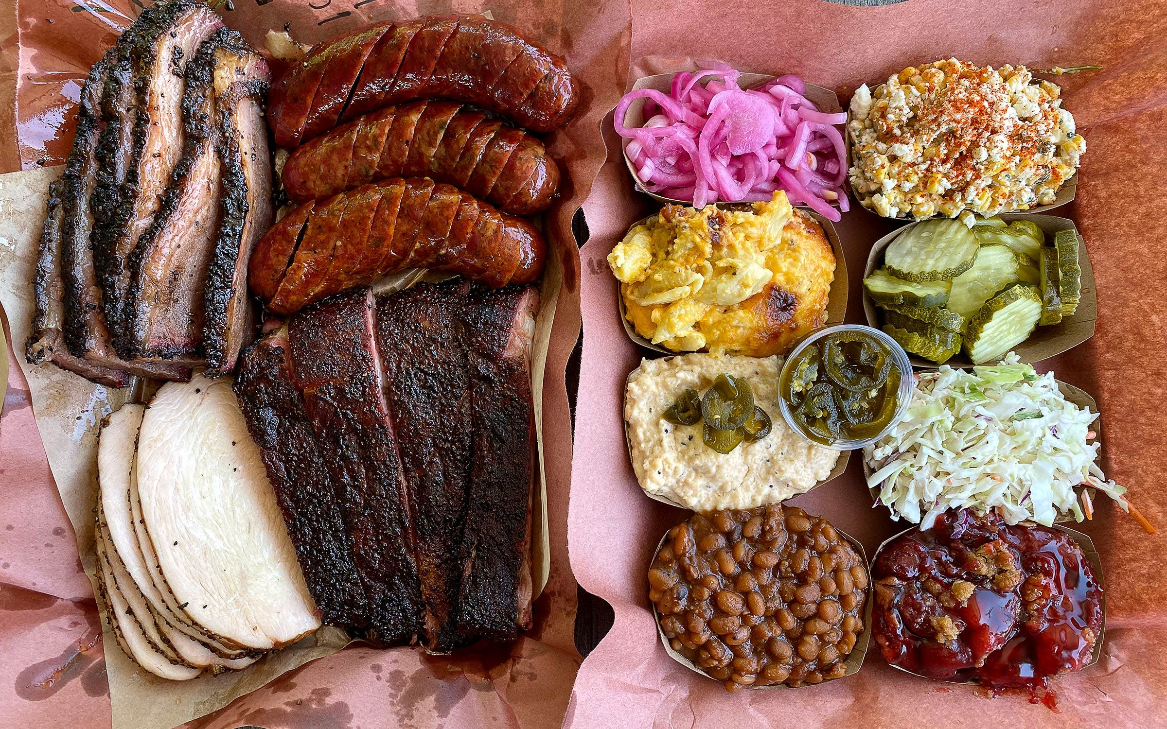 Spread of food at Jon G's Barbecue